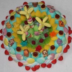 Gâteau géant animaux en sucre