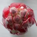 Bouquet de fleurs en bonbons rouge/blanc fleurs rouges