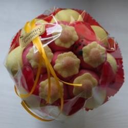 Bouquet de fleurs en bonbons jaune/rouge fleurs jaunes
