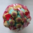 Bouquet de fleurs en bonbons orange/bleu fleurs jaunes