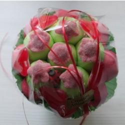 Bouquet de fleurs en bonbons rouge/vert fleurs rouges