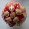 Bouquet de fleurs en bonbons orange/rouge fleurs jaunes
