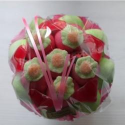 Bouquet de fleurs en bonbons vert/rouge fleurs vertes