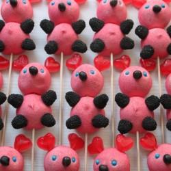 Brochette de bonbons ourson coeur