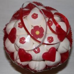 Bouquet de fleurs en bonbons mariage blanc rouge