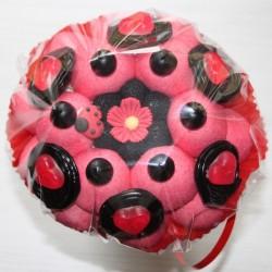 Bouquet de fleurs en bonbons en rouge et noir
