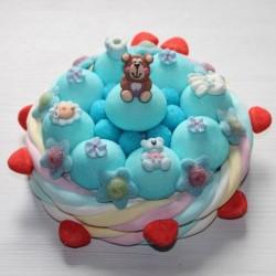 """Gâteau de bonbons naissance """"Félicitations"""" garçon"""