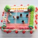 Terrain de volley en bonbons