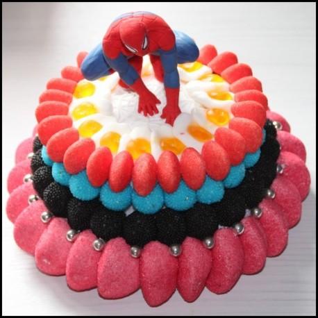 Pièce montée Spiderman en bonbons
