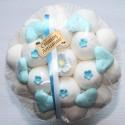 Bouquet de fleurs en bonbons mariage blanc bleu