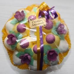 Bouquet de fleurs en bonbons mariage jaune mauve
