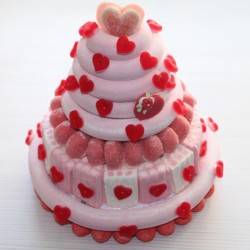 Pièce montée Milk-Shake fraise Saint Valentin