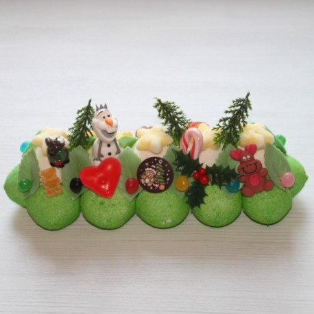 Bûche de Noël en bonbons Olaf