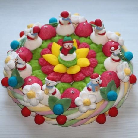 Gâteau en bonbons Bonhommes de neige de Noël grand modèle
