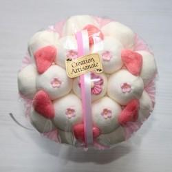 Bouquet de fleurs en bonbons mariage blanc rose