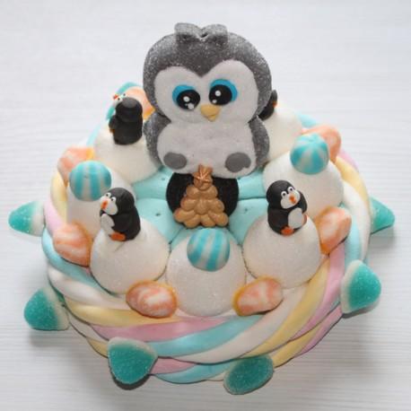 Gâteau de bonbons fêtes de fin d'année Pingouin