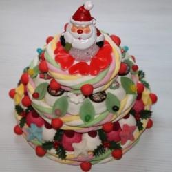 """Pièce montée de Noël en bonbons """" Le Noël enchanté """" avec son Père Noël lumineux"""
