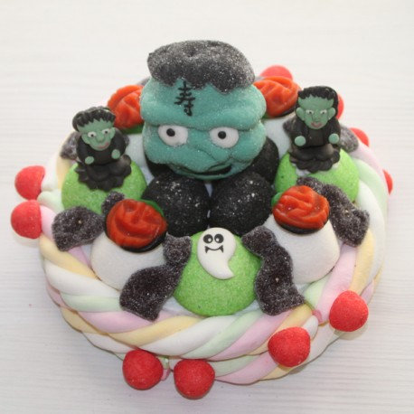 Gâteau de bonbons Halloween Frankenstein