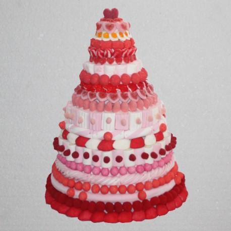 Pièce montée en bonbons rouge / rose / fuschia