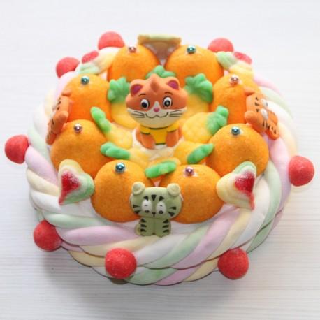 Gâteau d'anniversaire chat en bonbons