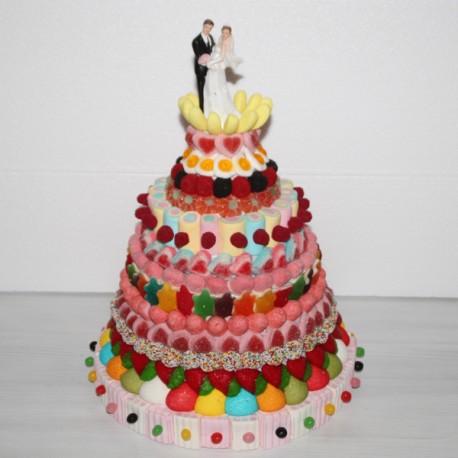 Pièce montée de bonbons spéciale mariage multicolore