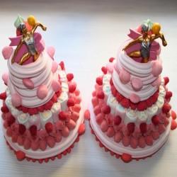 """Pièce montée en bonbons """"Bravos"""" fraise"""
